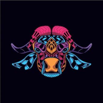 ダークネオン色の装飾的な牛の頭で輝く