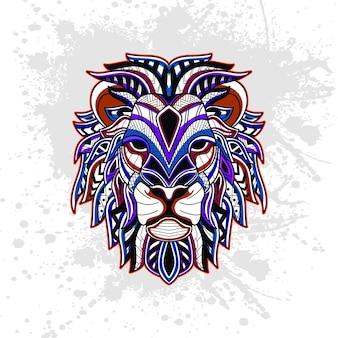 抽象的な装飾的なパターンからのライオン