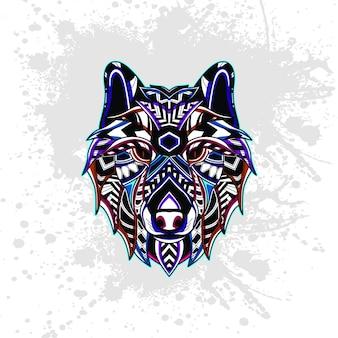 Волк украшен абстрактными фигурами