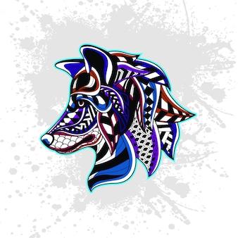 抽象的な装飾的なパターンからのオオカミ
