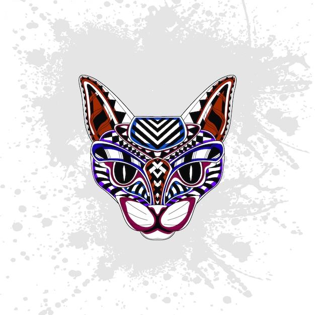 抽象的な装飾的なパターンからの猫