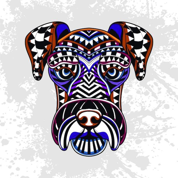 抽象的な装飾的なパターンからの犬