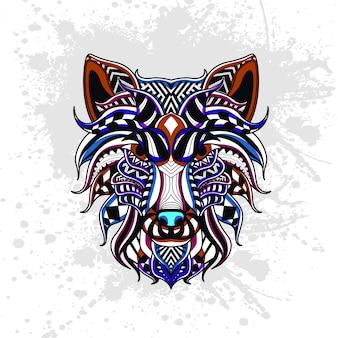 抽象的な形で飾られたオオカミ