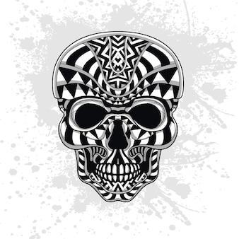 抽象的な形で飾られた頭蓋骨