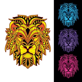暗闇の中で装飾的なライオンセットグロー