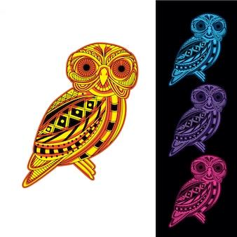 Установить маленькую сову из орнамента светящегося в темноте