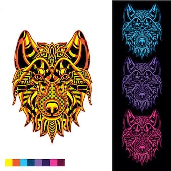 暗闇の中で光る装飾的なパターンからオオカミ