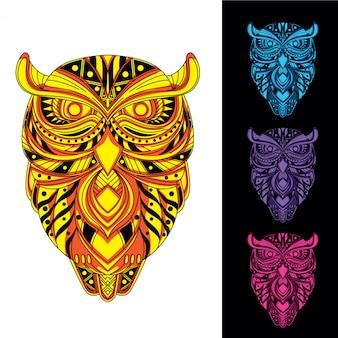 暗いセットで装飾的なパターンの輝きからフクロウ