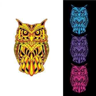 フクロウは、装飾的なパターンから暗闇の中で輝きを設定