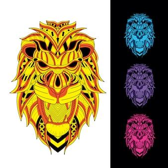 ライオンは、暗い色セットで光る装飾的なパターンから設定