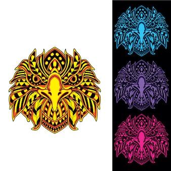 Орел из абстрактного орнамента с заревом в наборе темного цвета