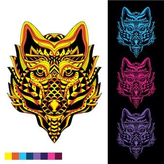 Волк из абстрактного орнамента с заревом в наборе темного цвета