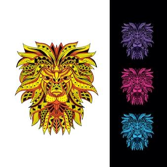 暗い色のセットで光る装飾的なパターンから装飾的なライオンヘッド