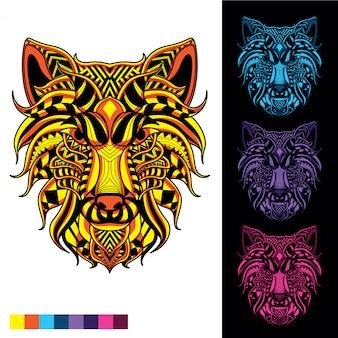 暗い色のセットで光る装飾的なパターンからオオカミトーテム