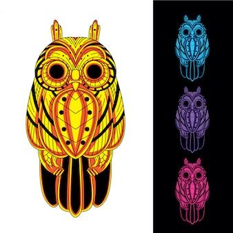 暗い色のセットで光る抽象的なパターンからフクロウ