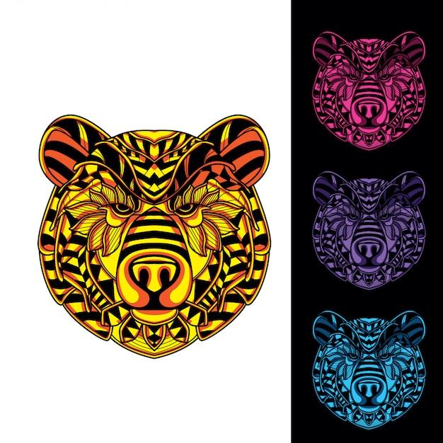 暗闇の中で装飾的なパターンの輝きからクマの頭のセット