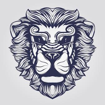 ファンキーなライオンの顔