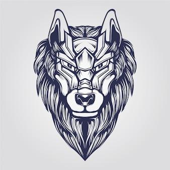 オオカミの頭の抽象的な装飾的なラインアート