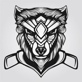 狼の頭のラインアート