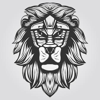 黒と白のライオンラインアート