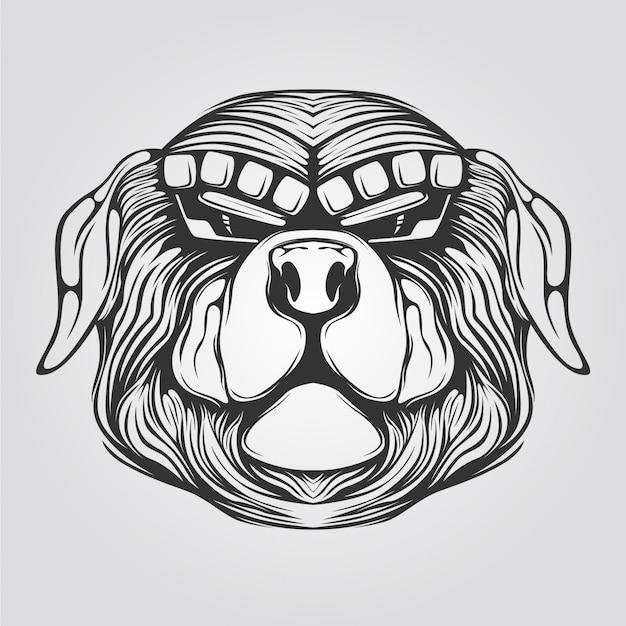 犬のラインアート