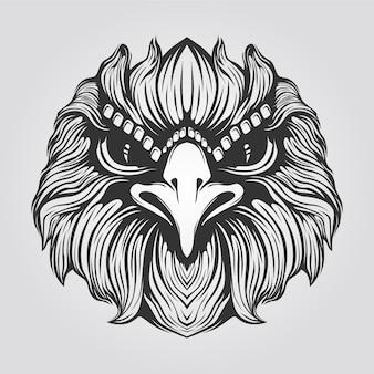 ワシの顔の黒と白のラインアート