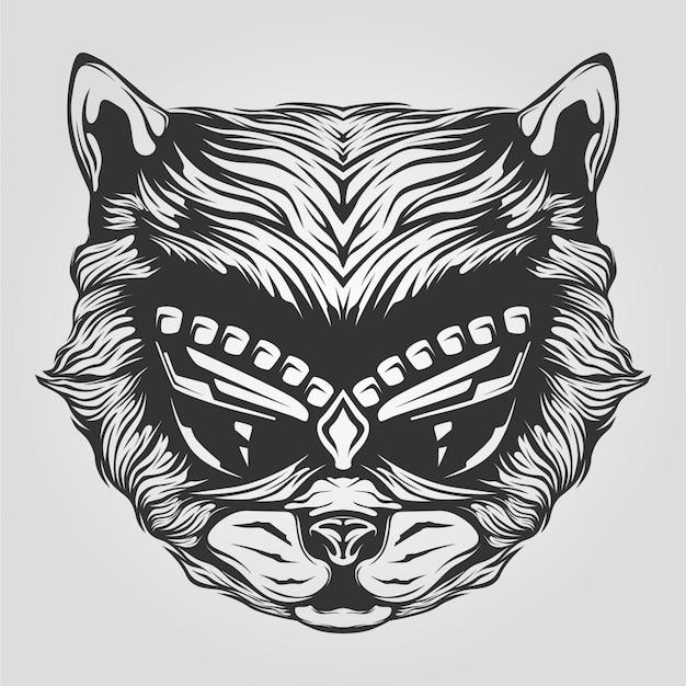 タトゥーや塗り絵の黒と白の猫ラインアート