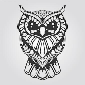 タトゥーや塗り絵の黒と白のフクロウラインアート