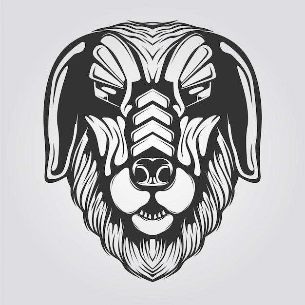 犬の頭のラインアート黒と白