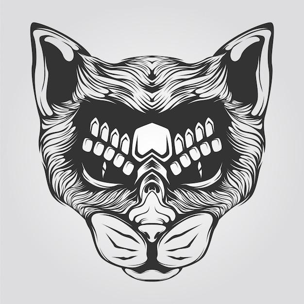 猫ラインアート黒と白
