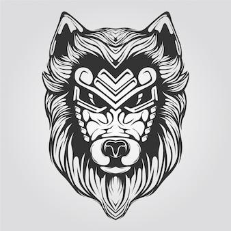 狼ラインアート黒と白