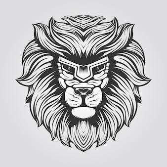 ライオンの黒と白のラインアート