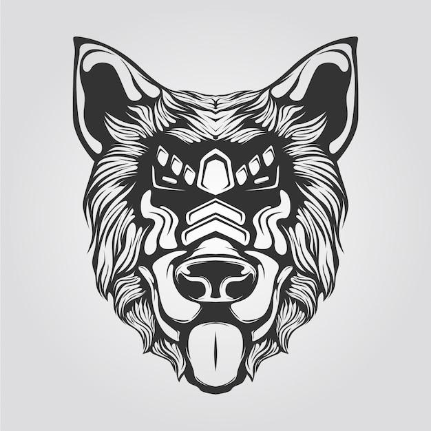 犬の黒と白のラインアート