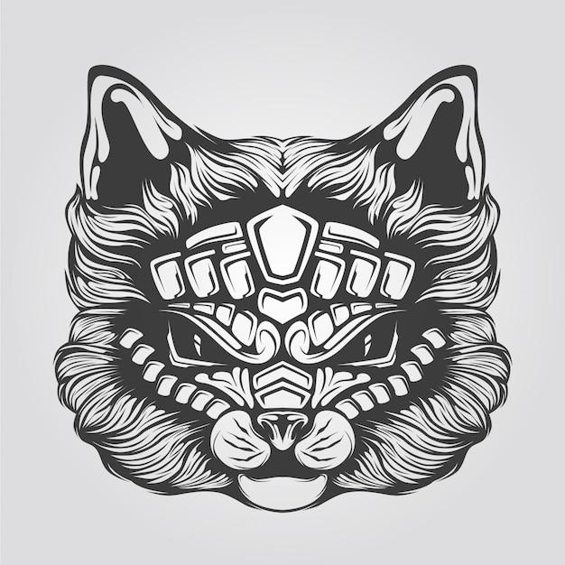 猫の黒と白のラインアート