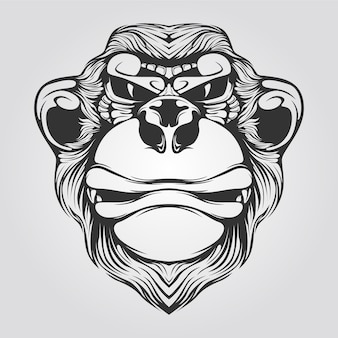 猿の黒と白のラインアート