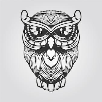 フクロウの黒と白のラインアート