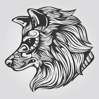 オオカミのラインアート