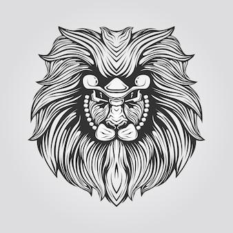 毛むくじゃらのライオンヘッドの黒と白のライン