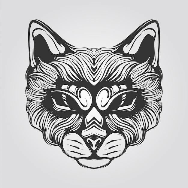 装飾的な目を持つ猫の頭のライン
