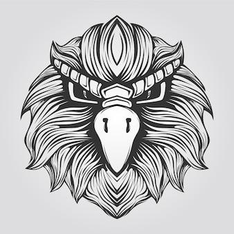 黒と白のワシの顔