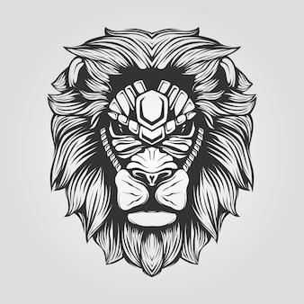ライオンヘッドの黒と白のラインアート