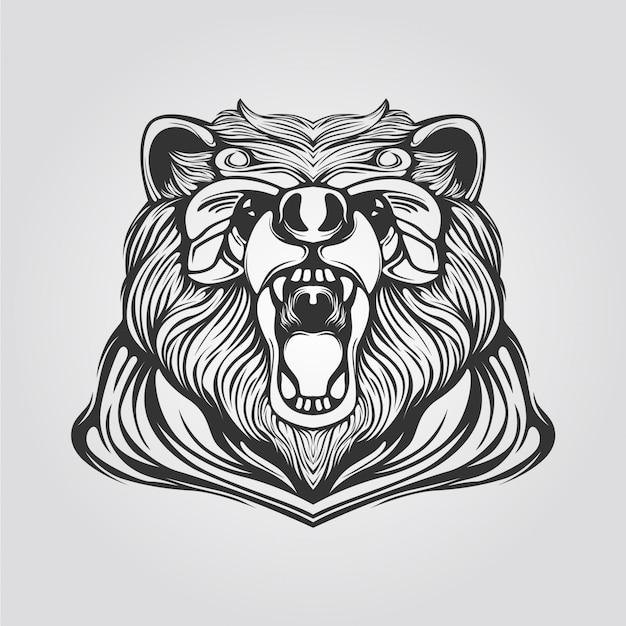 Линия медведя в черно-белом цвете