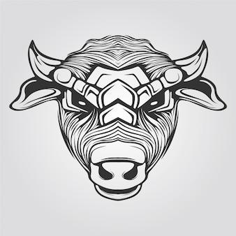 黒と白の色の牛のライン