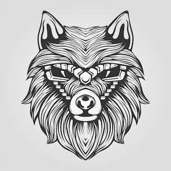 装飾的な顔を持つ黒と白の抽象的なオオカミのライン