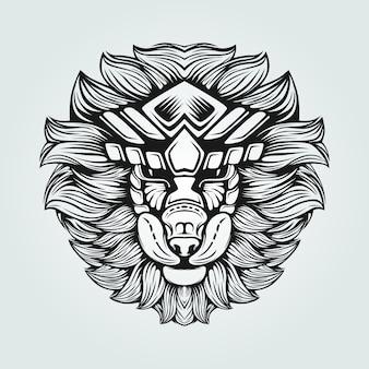 黒と白のラインアートの毛むくじゃらのライオン