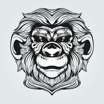 装飾的な顔を持つ古い猿ラインアート
