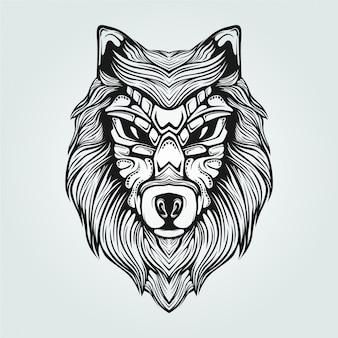 装飾的な顔を持つオオカミの黒い広告白いラインアート