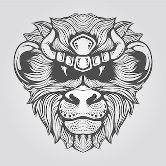 手描きの猿の頭