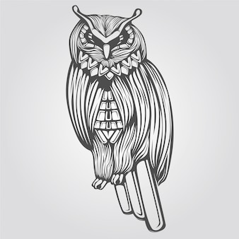 手描きのフクロウ