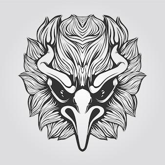 Рука нарисованные головы орла